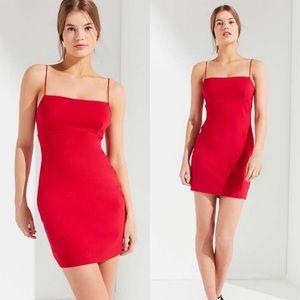 Urban O. Tai Empire Waist Ponte Mini Dress Red